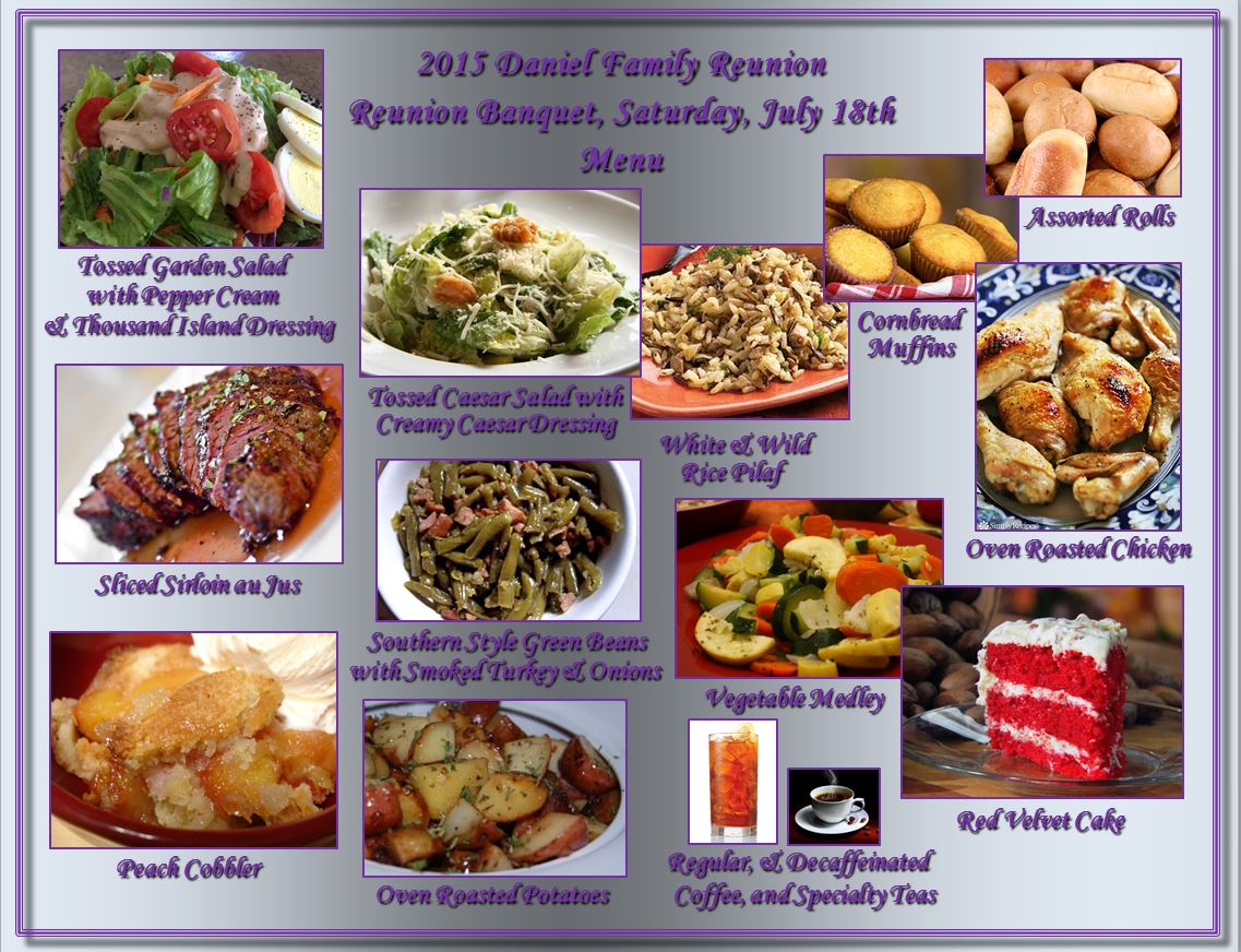 10 Fabulous Family Reunion Menu Ideas. July 2, by Susan Myers 5 comments. July is Family Reunion Month! We are going to start the month out with a look at how to feed a crowd with unique and easy to make recipes! After all, half the fun of a family reunion is eating, right? Try to go with food that can easily be made in large.